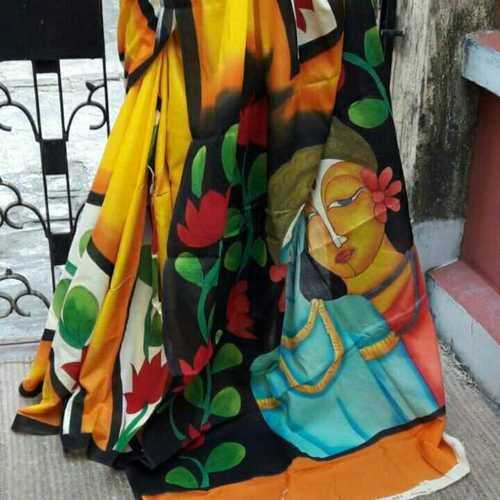 Soft Cotton Mulmul Hand Printed Sarees