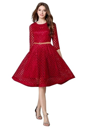 Western Wear Red Ladies Frocks
