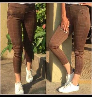 Ladies Stretchable Chex Pant