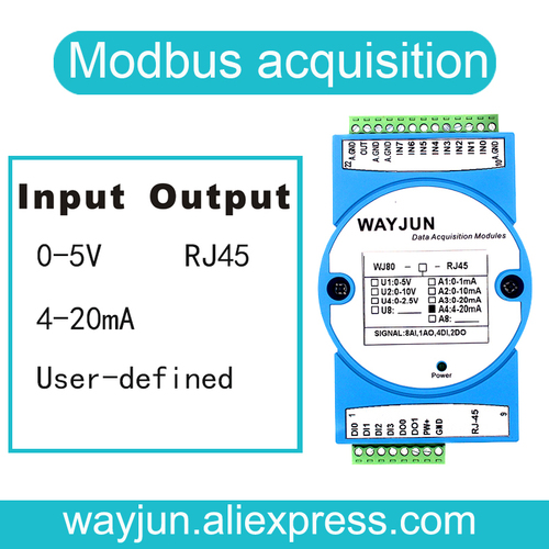 4-20ma To Modbus Tcp Network 8 Channels Signal To Rj45 Converter