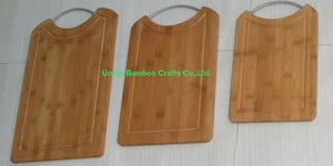 Set Of 3 Pieces Promotional Customized Logo Bamboo Cutting Board With Metal Handle