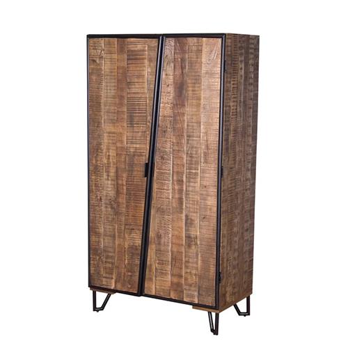 Mango Wood Rough Finish Wooden Wardrobe