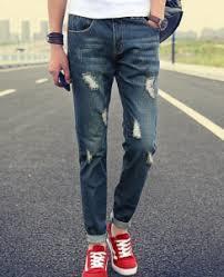 Mens Damaged Blue Jeans Pant Material: Cotton