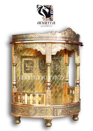 Glossy Finish Brass Wooden Temple
