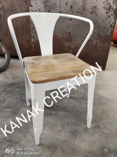 Tolix Style Arm Chair With Wooden Top