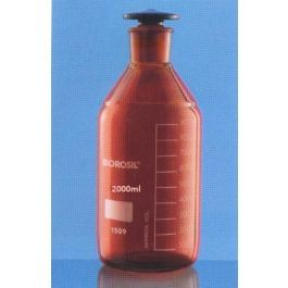 Reagent Amber Bottle With Narrow Mouth, Graduated With Interchangeable Flat Head Stopper