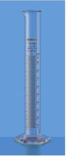 Cylinders Graduated, Single Metric Scale With Pour Out With Hexagonal Base