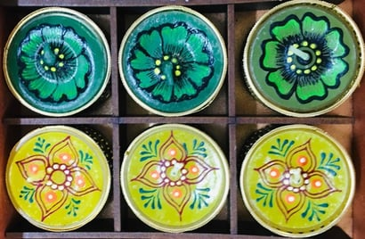 Multicolor Hand Painted Tealight Candle