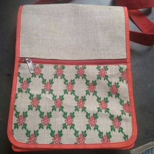 Jute Sling Bag With Red Pipin