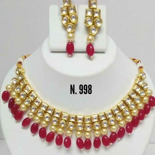 Yellow Kundan Gold Necklace Set