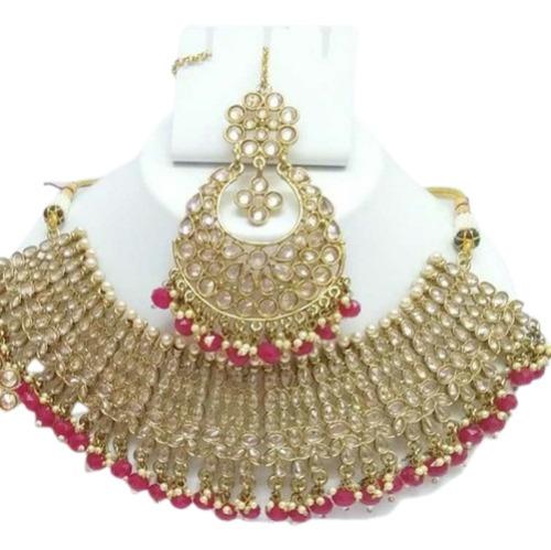 Yellow Kundan Gold Plated Necklace Set