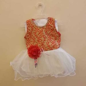 Kids Sleeveless Embroidered Frock