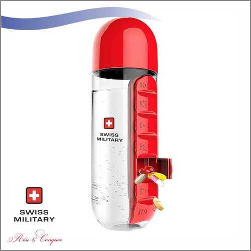 Swiss Military Pill Bottle With Inbuilt Pill Organizer 600 Ml (Smf3)