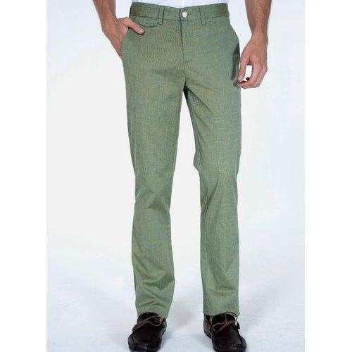 Green Mens Formal Wear Plain Cotton Pant