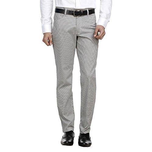 Grey Mens Plain Cotton Formal Pant