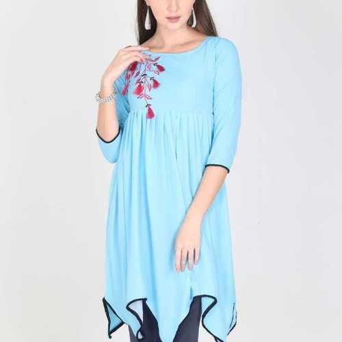 Blue Asymmetrical Border Kurta For Women