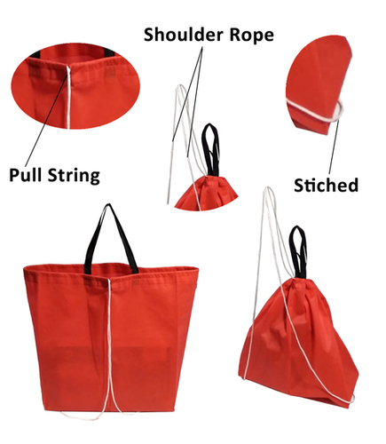 Caris Carry Bag, Non Woven Fabric (Color Red), Grocery Baga (Red) With Backpack Roap