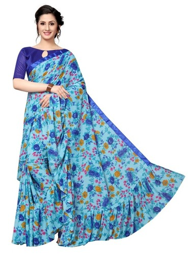 Designer Georgette Double Ruffle Saree