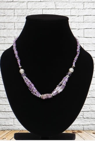 Necklaces Amethyst Cube 3 Line Almond Real Stone