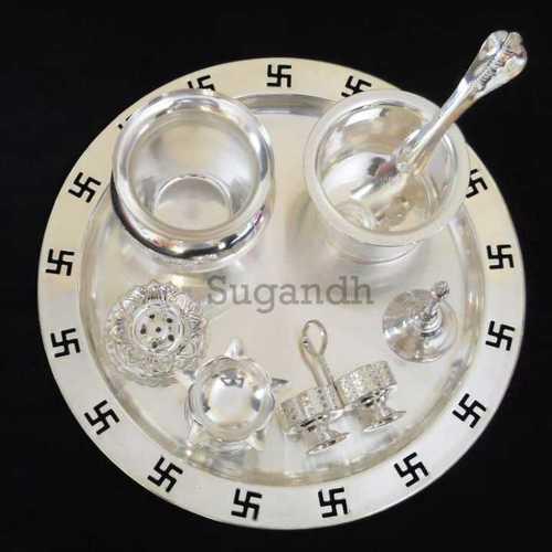 Silver Plated Swastik Puja Thali