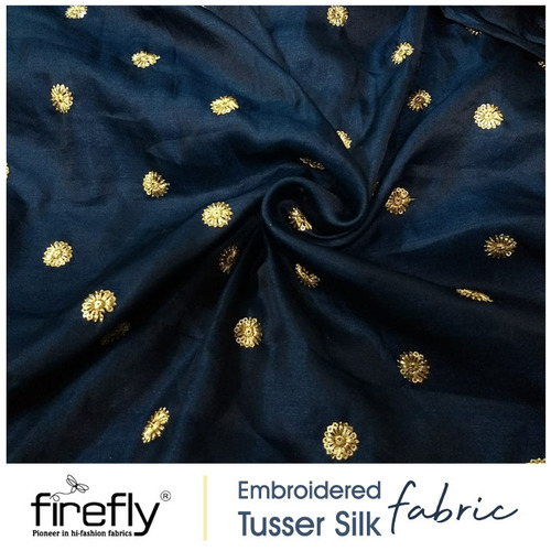 Blue Embroidered Tussar Silk Fabric