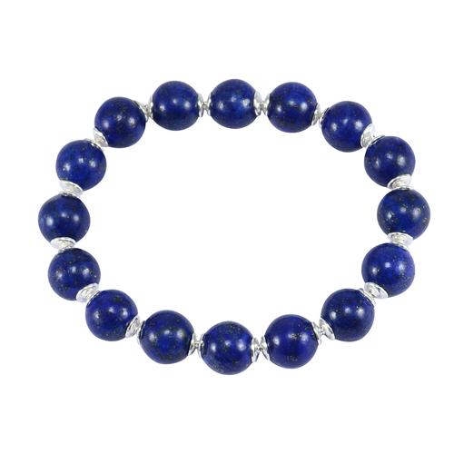 10mm Round Beaded Lapis Lazuli Gemstone 925 Sterling Silver Stretchable Bracelet