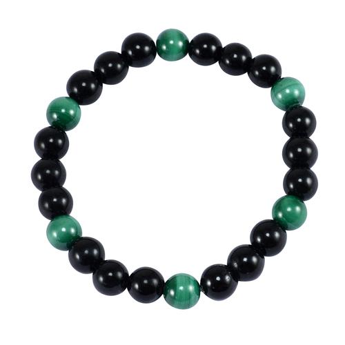 8mm Beads Handmade Green Tiger Eye And Black Onyx Stretchable Bracelet
