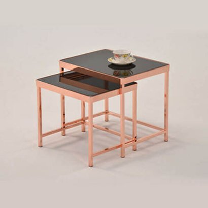 Copper Chrome Glass And Metal Tube Side Tables