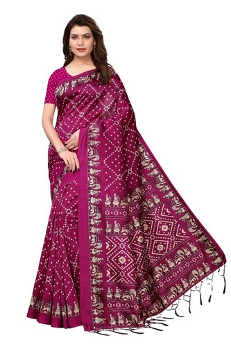 Fancy Bandhej Mysore Silk Saree With Jhalar (Tessals)
