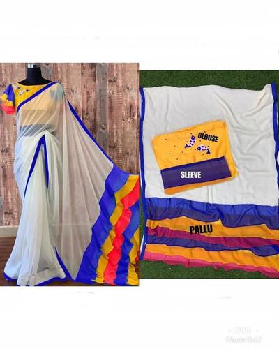 Women's Frill Chanderi Saree With Embroidery Work