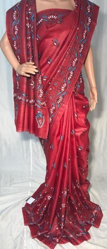 Pure Tussar Silk Hand Katha Embroidery Saree