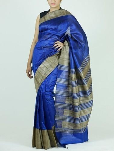 Handloom Woven Royal Blue Silk Saree