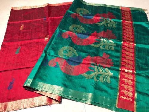 Pure Dupion Raw Silk Handloom Peacock Jala All Over, Pallu Heavy Jala Pallu Saree, Contrast Blouse