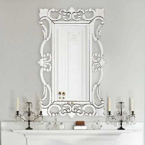 Silver Venetian Glass Mirror For Home And Hotel