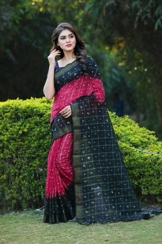 Handloom Pure Cotton Bandhani Saree With Zari Work