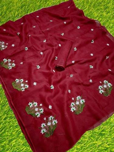 Beautiful Flower Embroidery Work Linen Saree