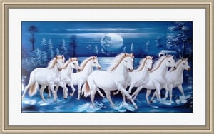 Seven Running Horses On Water Paintings