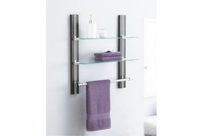 Two Tier Glass Shelf With Towel Bar