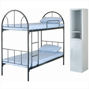 Dormitory Metal Bed And Cupboard
