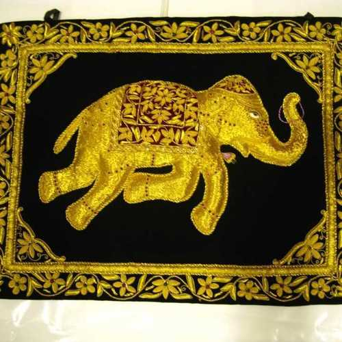 Varioius Colrs Are Available Zari Work Elephant Wall Hanging