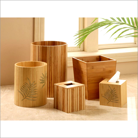 Bamboo Trash Can And Tissue Holder