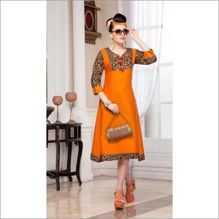 Orange Ladies Cotton Kurti