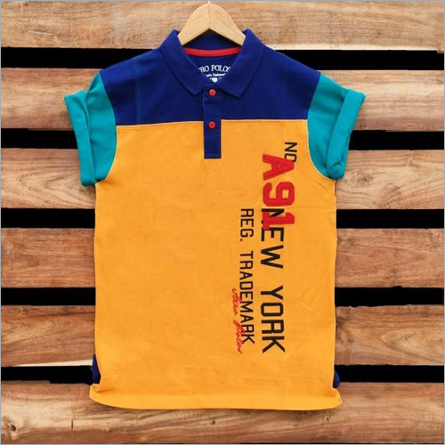 Boys Half Sleeve Collar T-Shirt