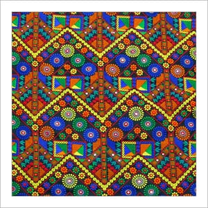 Mirror Work Embroidery Fabric