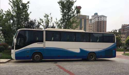 White Blue 55 Seter Used Ornate Tata Bus Higer