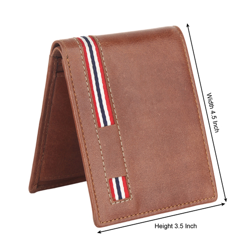 Dual Fold Brown Leather Wallet