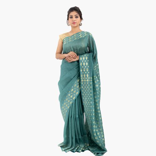 Pure Designer Linen Silk Saree