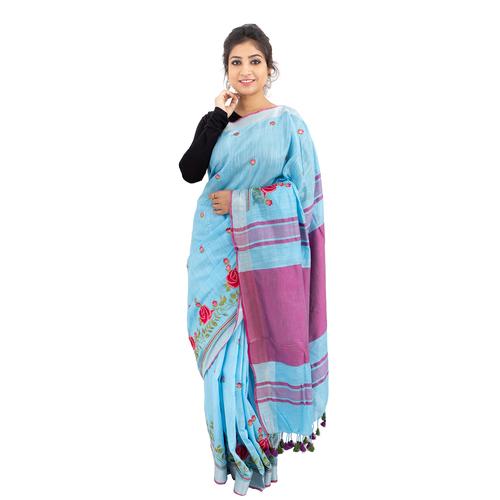 Pure Linen Silk Embroidery Sarees