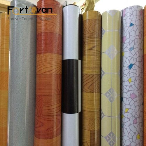 Plastic Flooring Covering With Felt Backing Rolls Parquet In Marble Color Certifications: Sgs