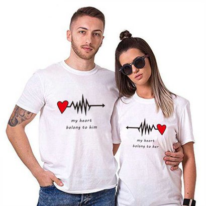 Summer Couple Wear Short Sleeve Lovers T-Shirt Anniversary Gift Age Group: Adult